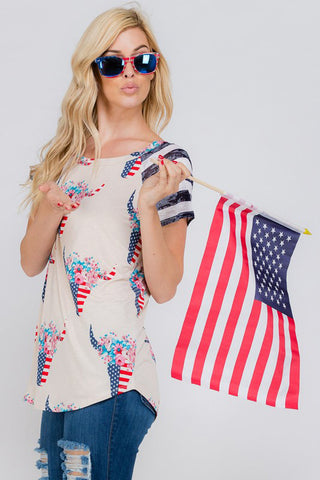 Aurora American Flag Top : Navy