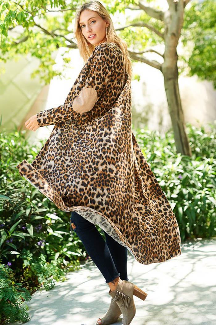 Leopard Long Cardigan - Brown