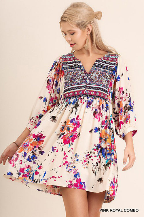 Claire Floral Boho Dress : Pink Royal