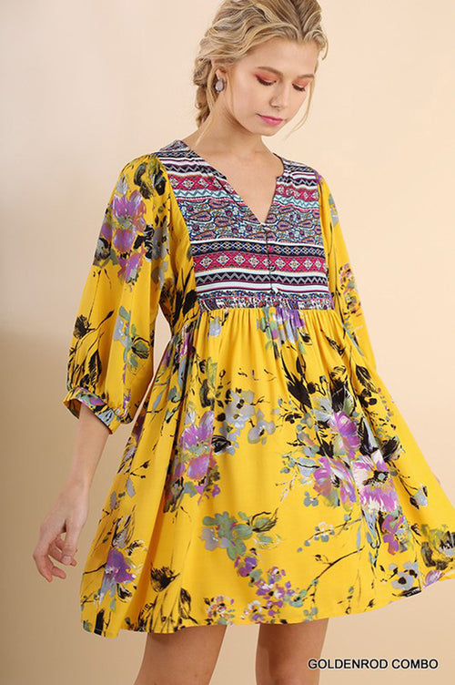 Claire Floral Boho Dress : Goldenrod