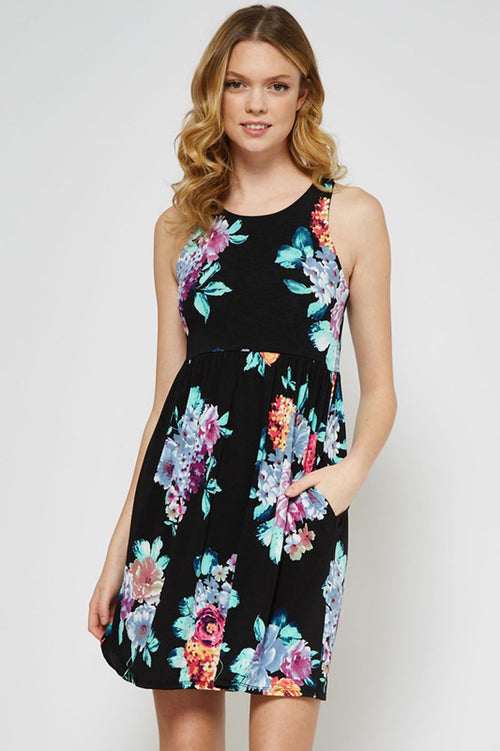 Sarah  Floral Mini Dress : Black