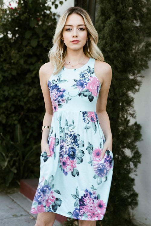 Sarah  Floral Mini Dress : Mint