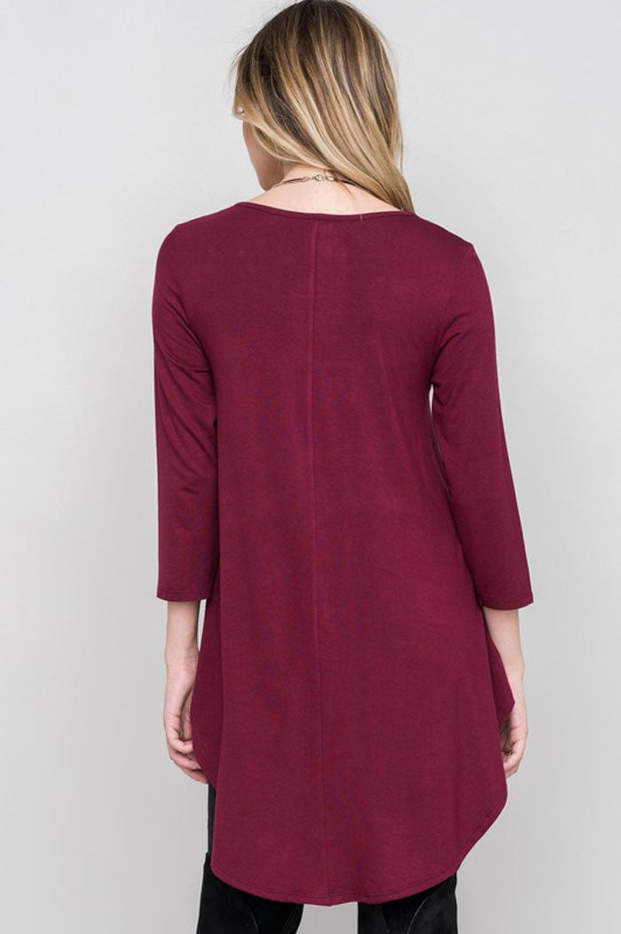 Solid Baby Doll Top : Burgundy