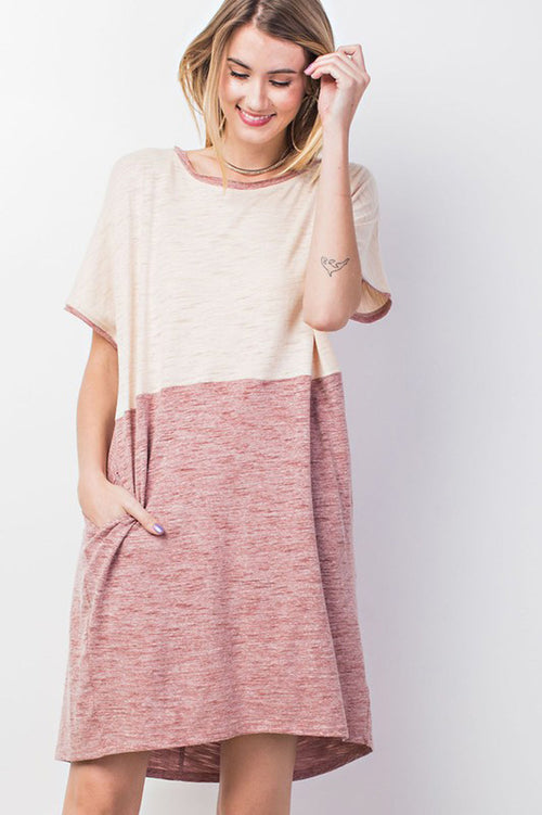 Ellie Comfy T-Shirt Dress : Red Bean