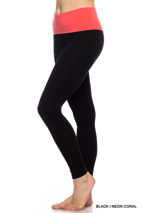 Contrast Fold over Yoga Leggings