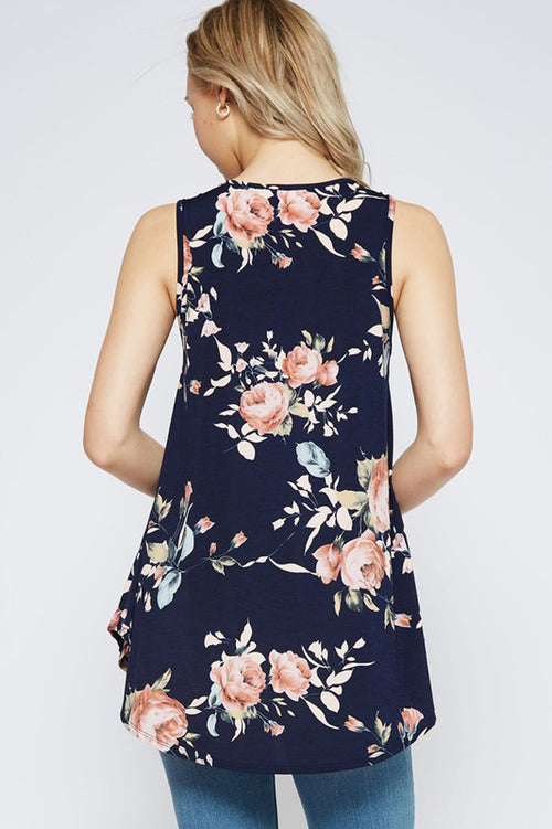 Floral Tank Top : Navy