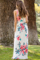 Brianna Floral Maxi Dress : Ivory
