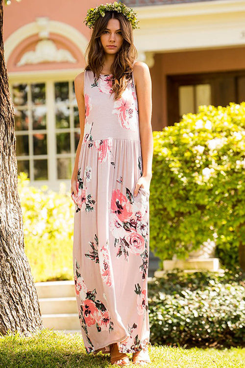 Brianna Floral Maxi Dress : Mauve