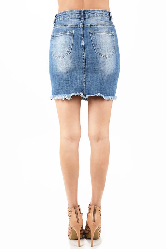 Amira Denim Mini Skirt : Medium Light Blue