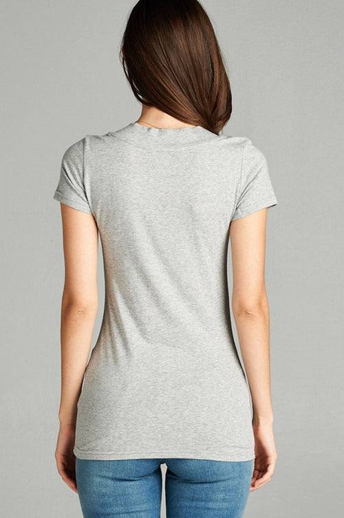 Basic Solid Short Sleeve Top : Heather grey