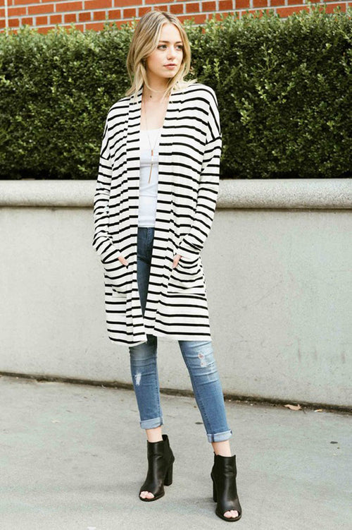 Casual Striped Modal Cardigan