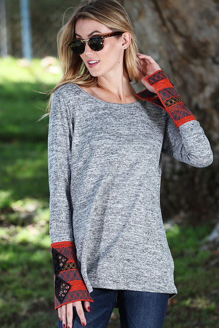 Embroidery Cuffs Top : Heather grey