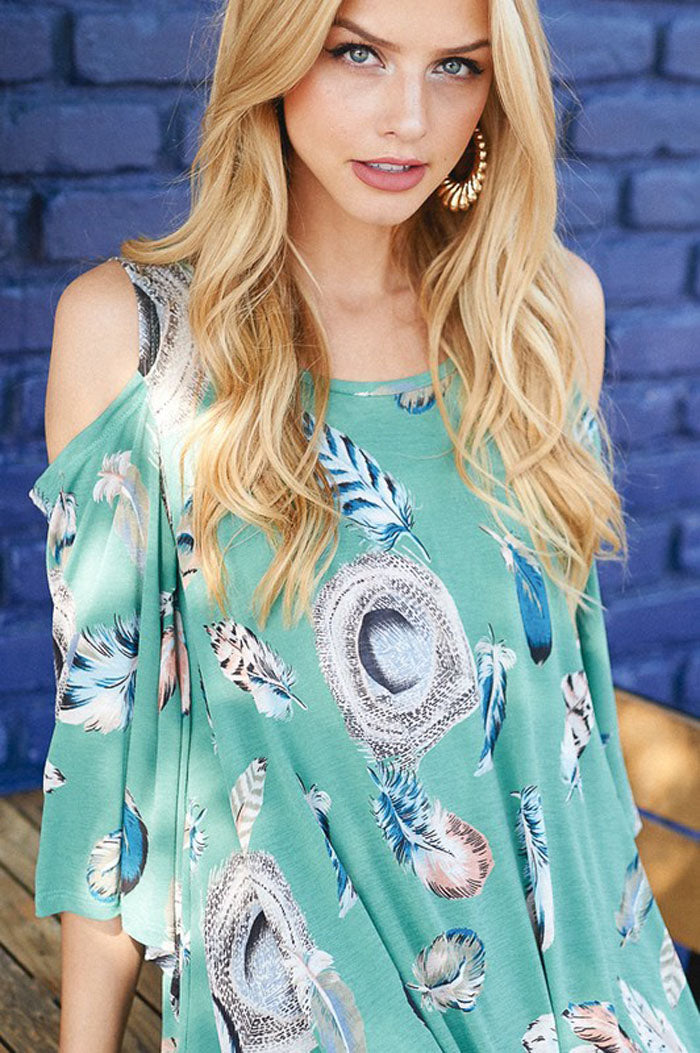 Feather Cold Shoulder Top