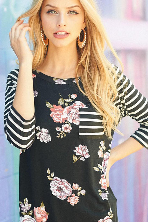 Floral and Stripe Top : Black