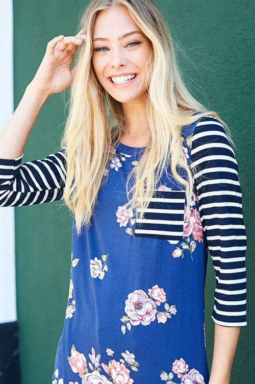 Floral and Stripe Top : Navy