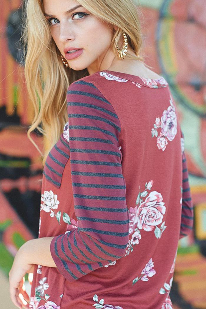 Floral and Stripe Top : Rust