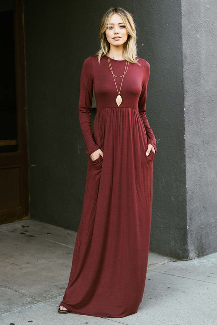 High Waist Solid Maxi Dress : Burgundy