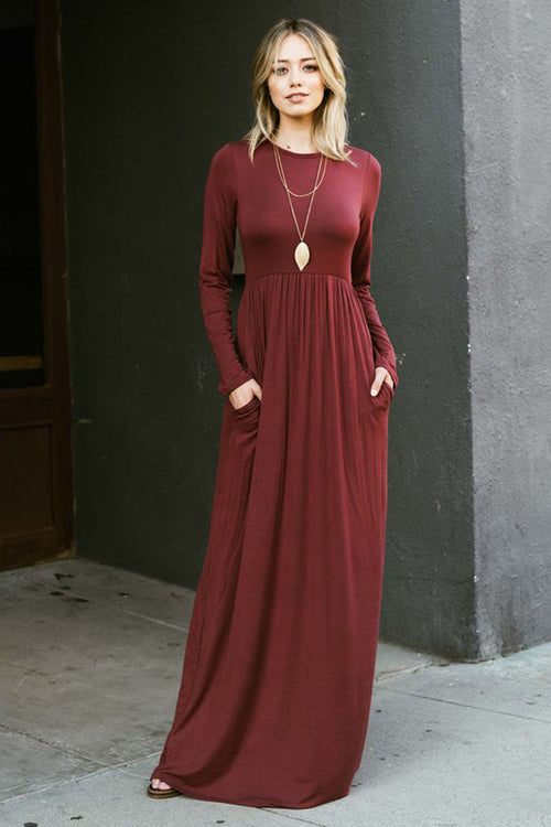 High Waist Solid Maxi Dress : Magenta