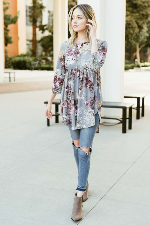 Round Hem Floral Top - Grey