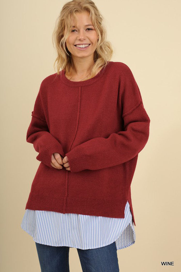 Taylor Layered Pullover Top : Wine
