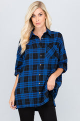 Ella Loose Plaid Shirt : Red/Black