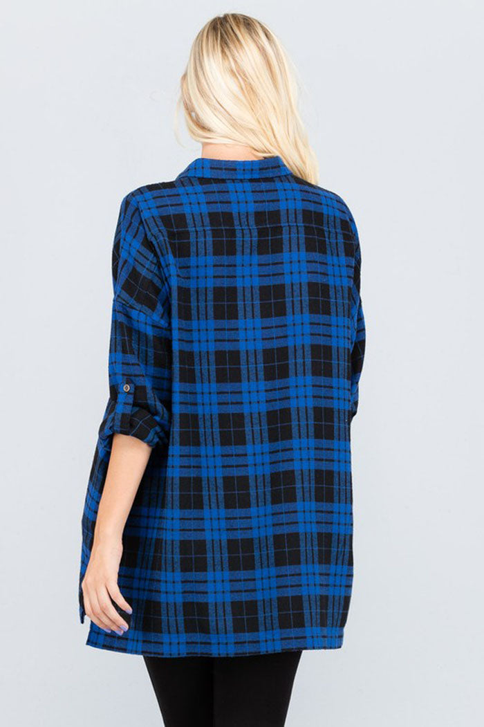 Ella Loose Plaid Shirt : Royal Blue/Black