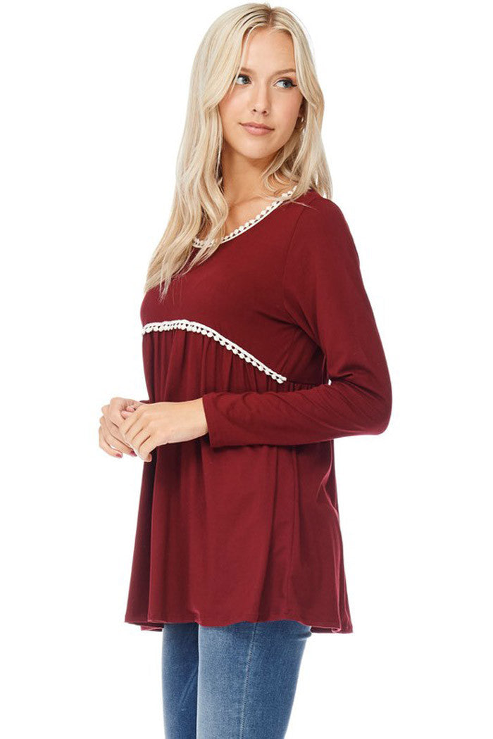 Babydoll Top with Crochet Trim