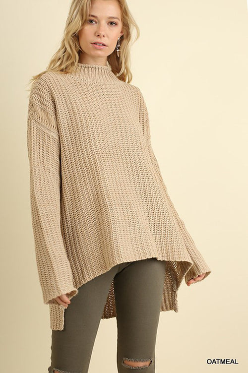 Loose High Neck Sweater : Oatmeal
