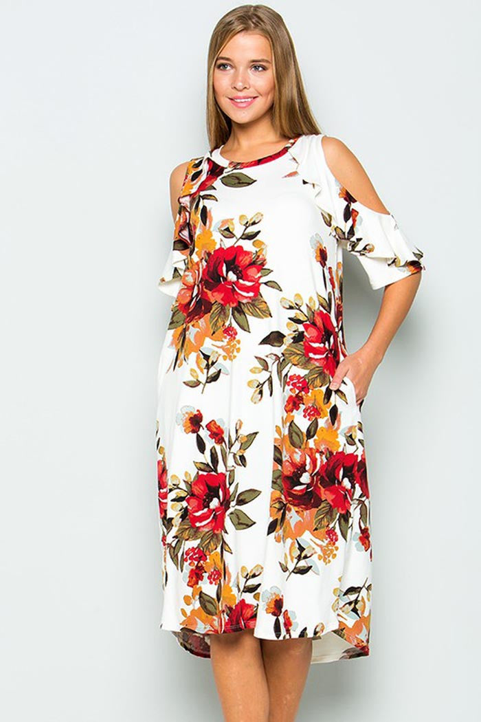 cca754029dbcd GOZON Women's Ruffle Cold Shoulder and Round Neck Floral Midi Dress – GOZON  Boutique