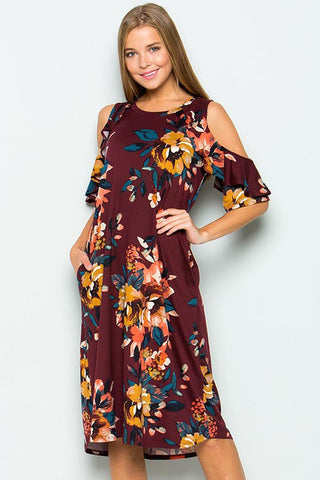 Ruffle Cold Shoulder Midi Dress : Wine