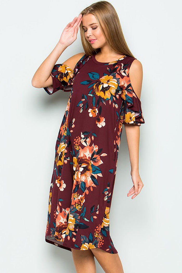 129cafedab2aa GOZON Women's Ruffle Cold Shoulder and Round Neck Floral Midi Dress ...