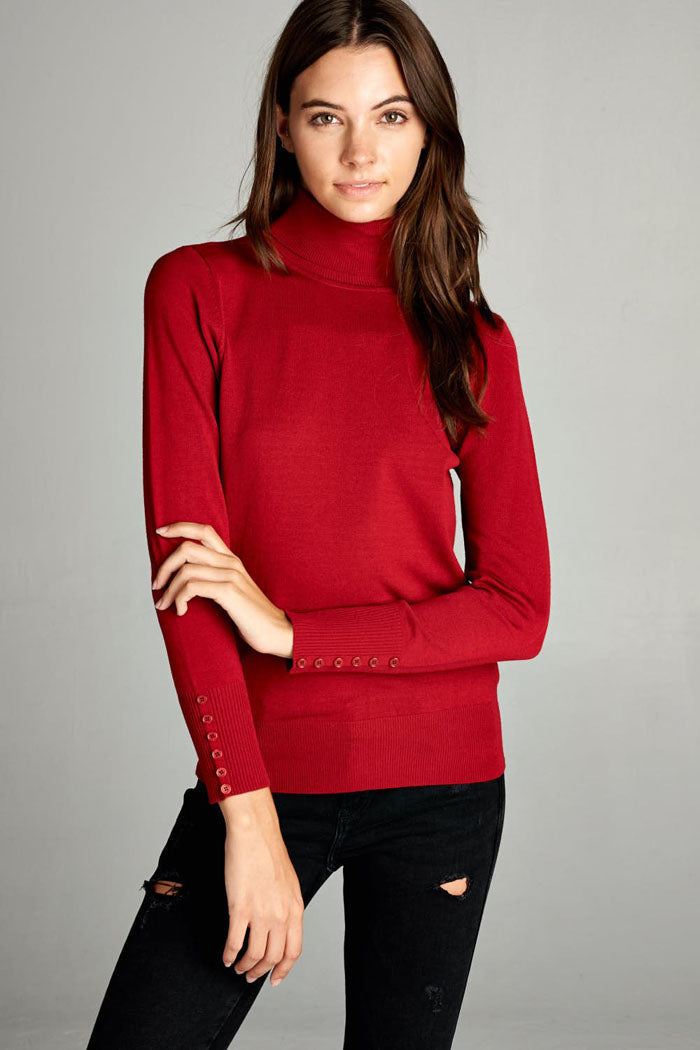Trish Turtle Neck Top : Dark Red