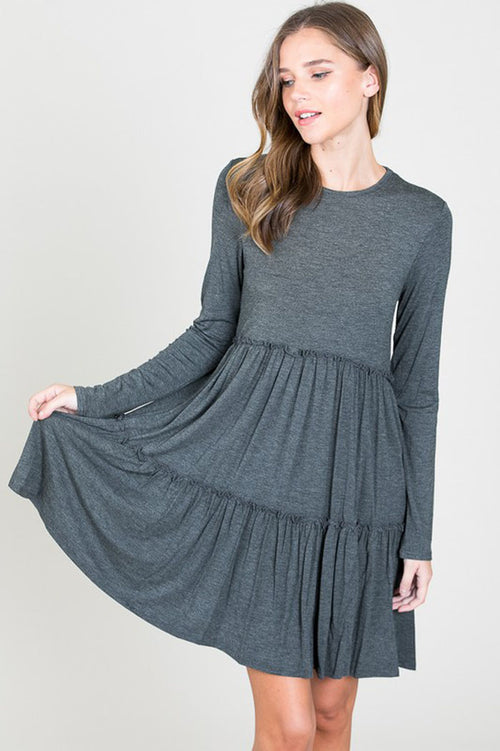 Layered Baby Doll Dress : Charcoal