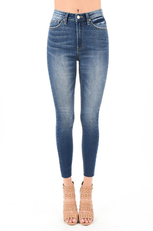 Annie High Waist Denim Pants : Dark Blue