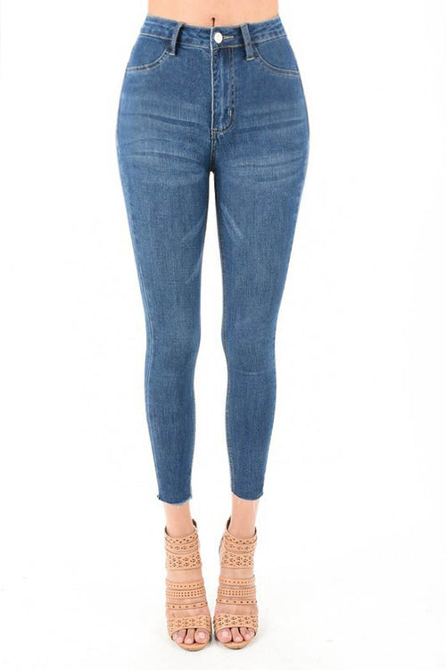 Melody High Rise Ankle Jeans : Medium Dark Blue