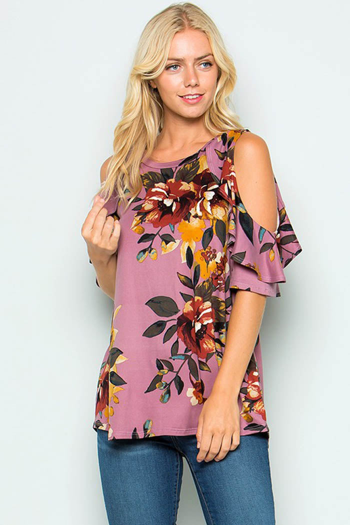 Red Floral with Tunic Top - Dark Lavender