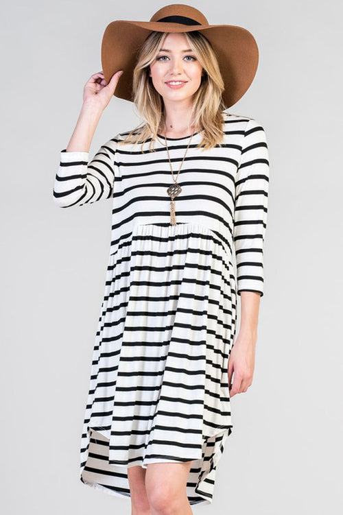 Essential Stripe Babydoll Dress - Ivory/Black