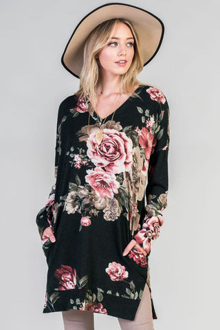 Pink Blooming Tunic : Black
