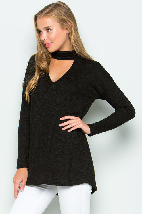Brushed Hacci Sweater Top : Black