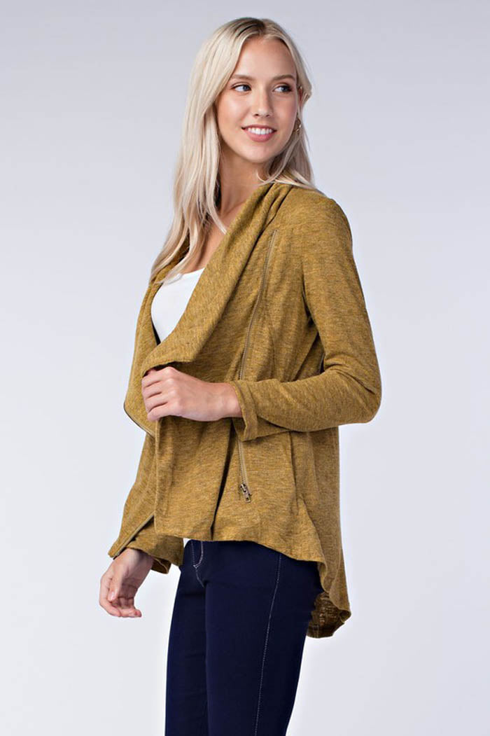 Side Zip-Up Knit Jacket : Mustard