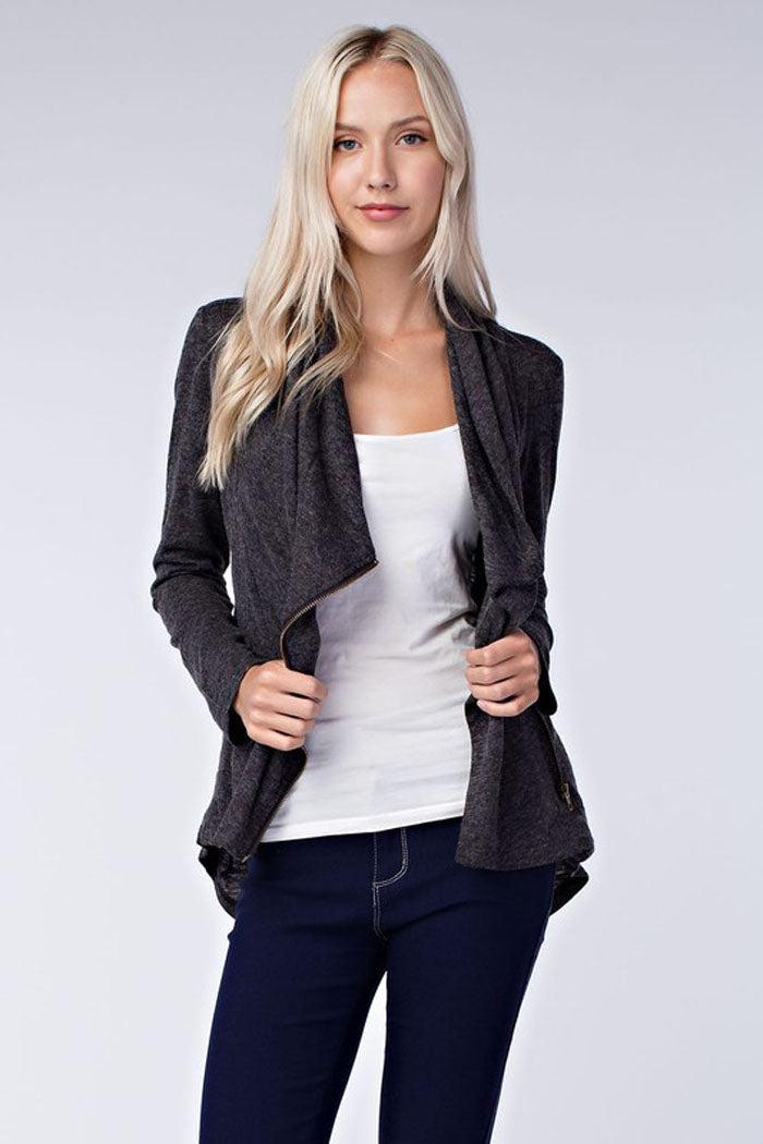 Side Zip-Up Knit Jacket : Charcoal