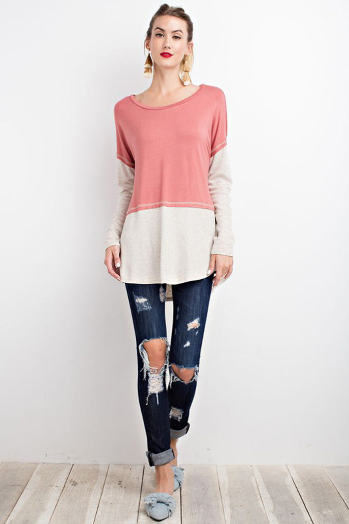 Blake Color Block Tunic : Terra Cotta