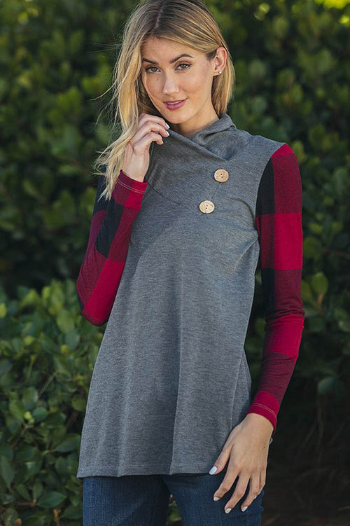 Cowl Neck Top with Plaid