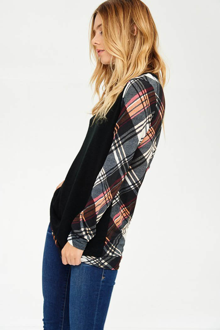 Casual Plaid Contrasted Top : Burgundy