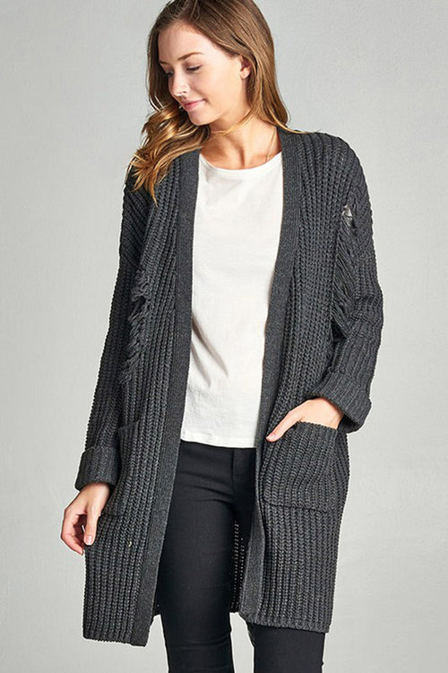 Distressed Long Cardigan : Charcoal