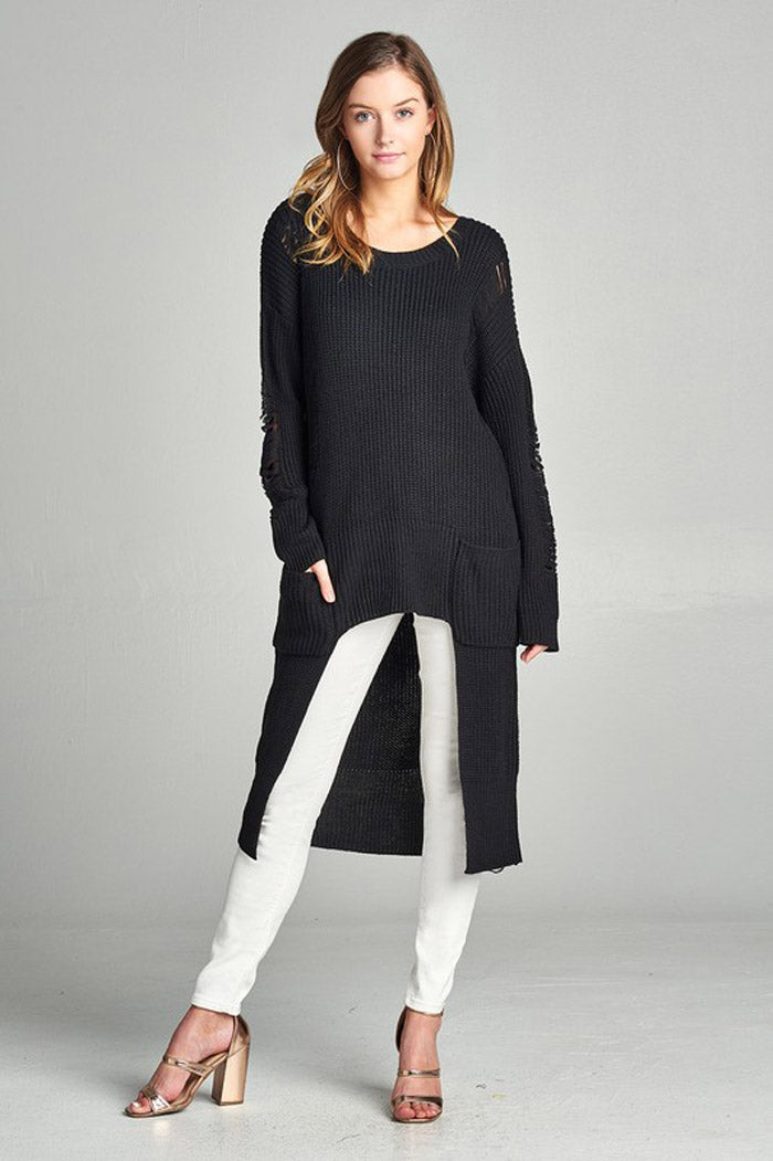Distressed Hi-Lo Tunic : Black