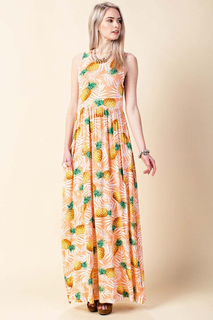 Poppy Pineapple Maxi Dress : Mint