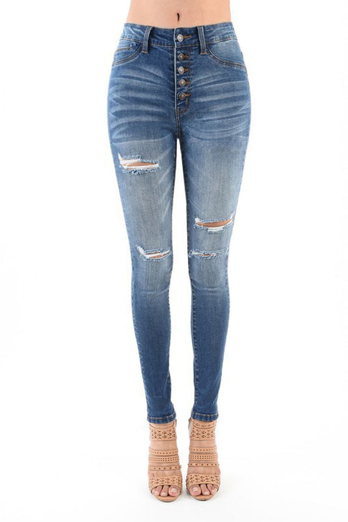 Eileen Destroyed Skinny Jeans : Medium Blue