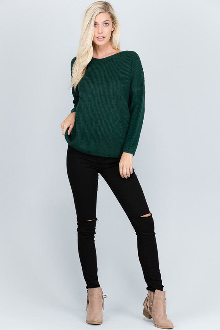 Adeline Lace-Up Sweater : Winter Green