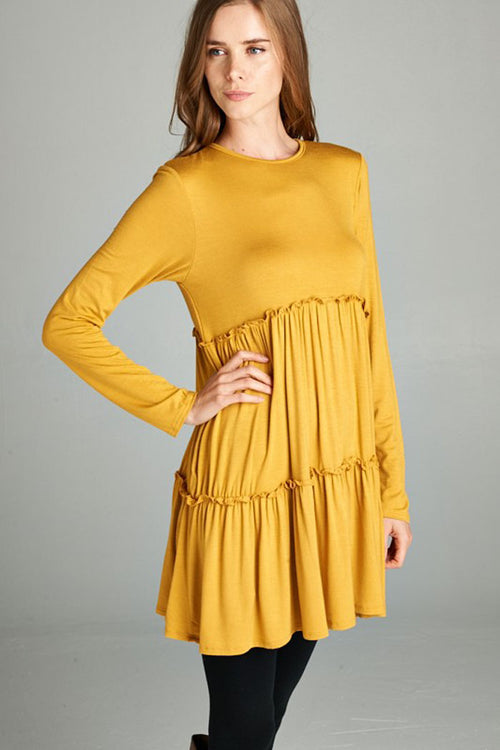 Layered Baby Doll Dress : Mustard